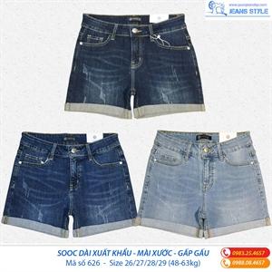 Quần sooc jeans xuất khẩu dáng dài, mài xước nhẹ 626