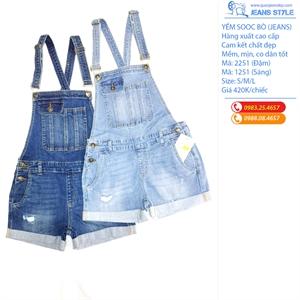 Quần sooc yếm jeans nữ, mài rách, hàng xuất chuẩn 1251-2251