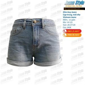 Sooc jeans nữ cạp cao gấp gấu 141.03_S