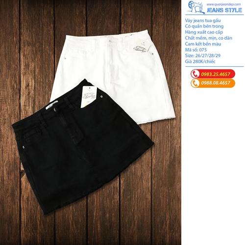 Sooc váy jeans đen trắng tua gấu 075