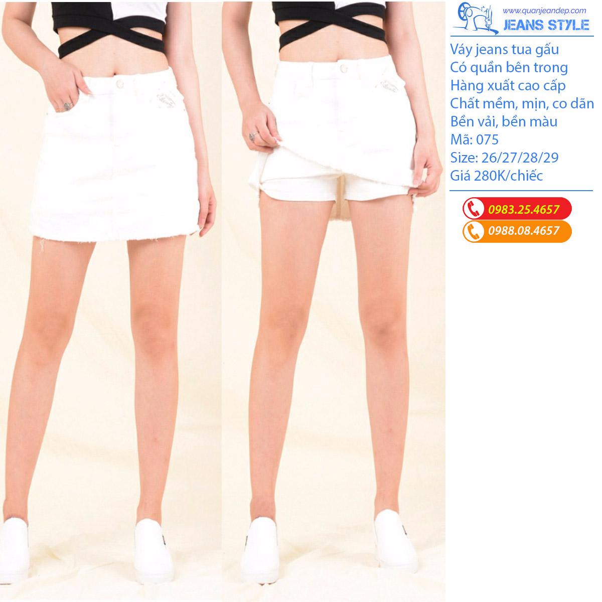 Sooc váy jeans đen trắng tua gấu 075 Giá:238.000,00 ₫