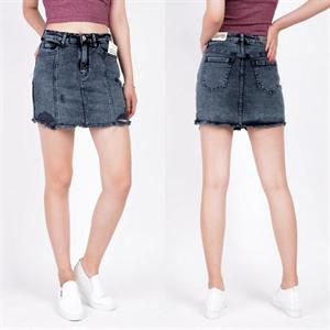 Sooc váy jeans - mài rách - phối gân - tua gấu 104
