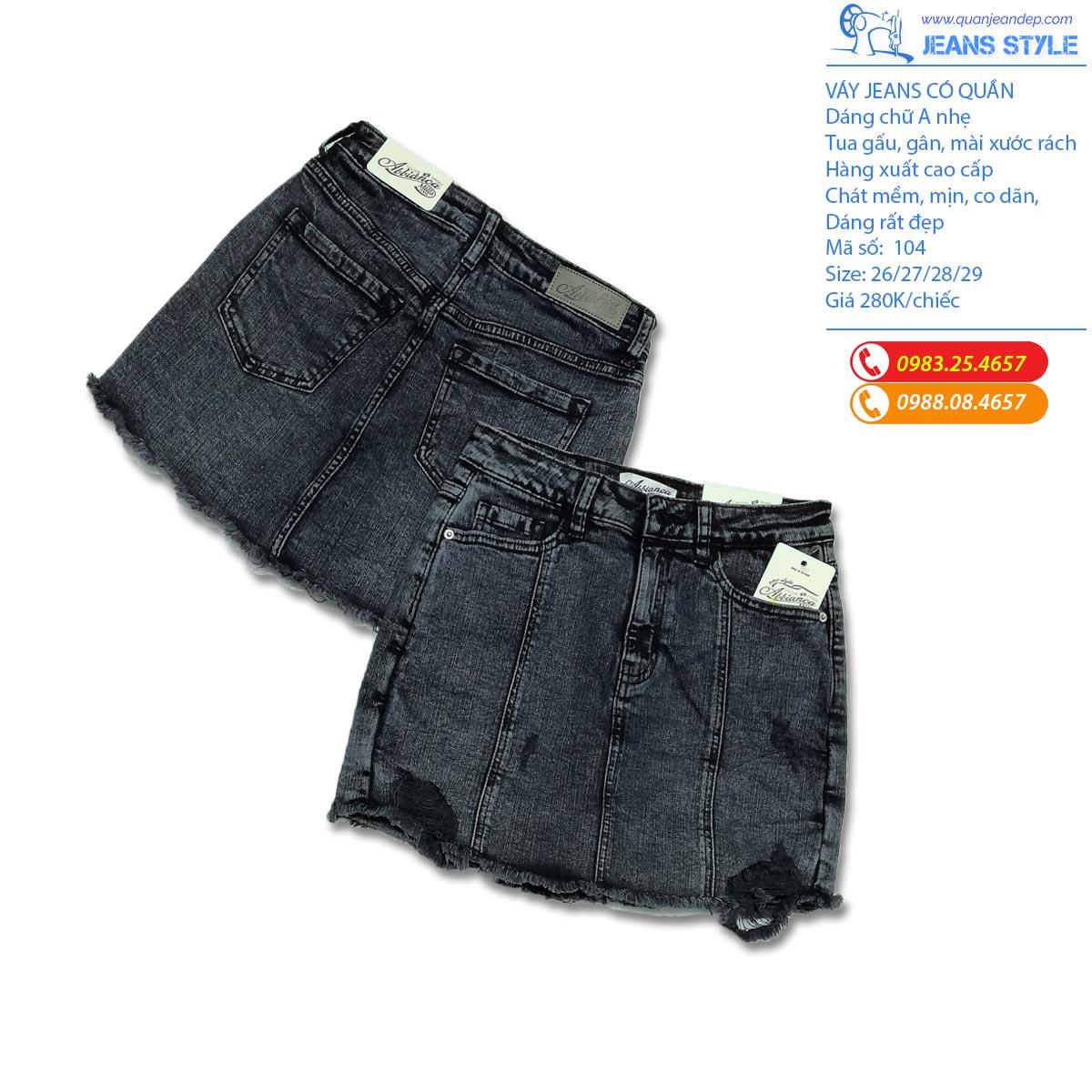 Sooc váy jeans - mài rách - phối gân - tua gấu 104 Giá:238.000,00 ₫