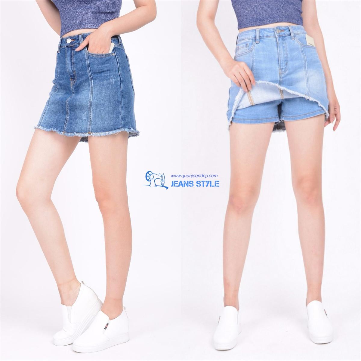 Sooc váy jeans phối gân - mài xước - tua gấu 011 Giá:238.000,00 ₫