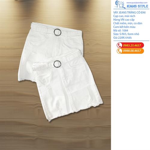 Váy jeans trắng có đai 1084